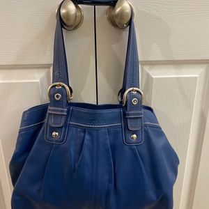 Large Leather Blue Coach Bag